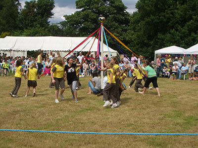 Maypole dancing at the Village Fair and Flower Show at Elmore in 2007